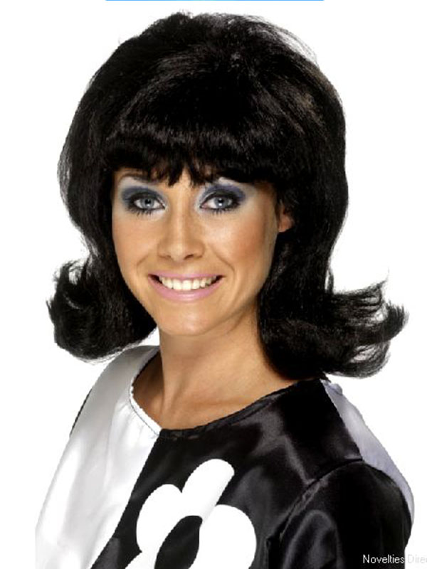 60's Lady Black Wig Flick up - Click for Colours