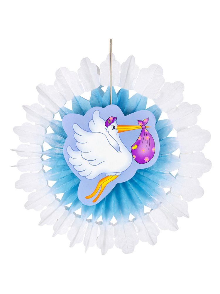 Azure Stork With Baby Paper Fan 50Cm