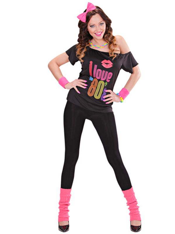 80S GIRL (T-SHIRT BOW HEADBAND LEG WARMERS)