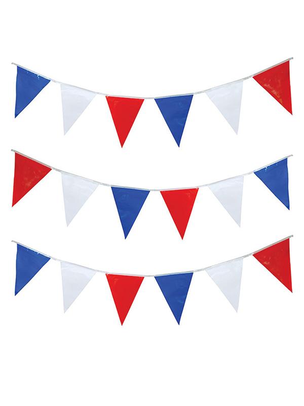 Bunting  Triangular Red - White & Blue