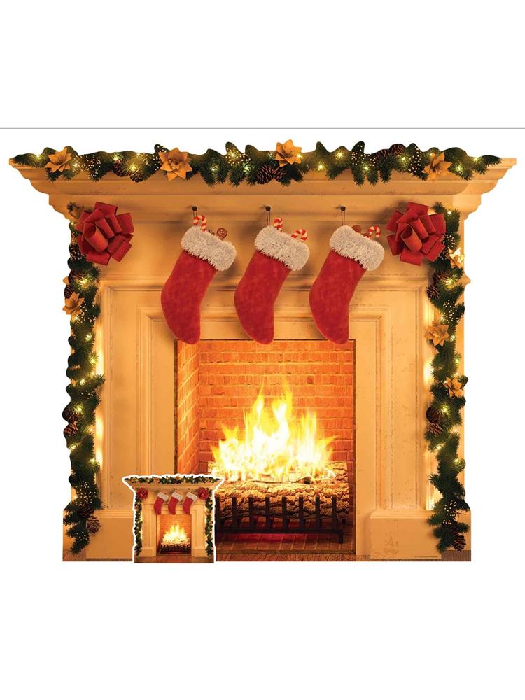 Christmas Fireplace Festive 1 Dimensional Cardboard Cutout