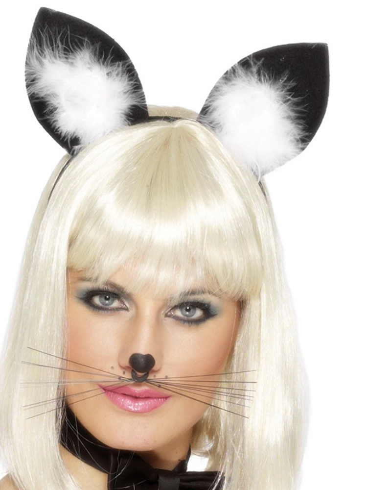 Cats Ears on a Headband with Marabou Feather trim