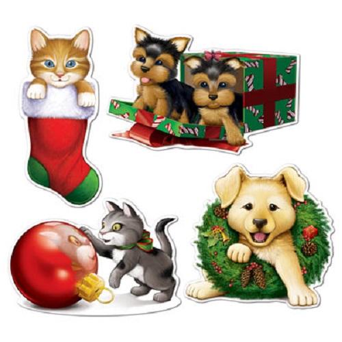 Christmas Puppy & Kitten Cardboard Cutouts