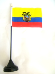 Ecuador Table Flag with Stick and Base