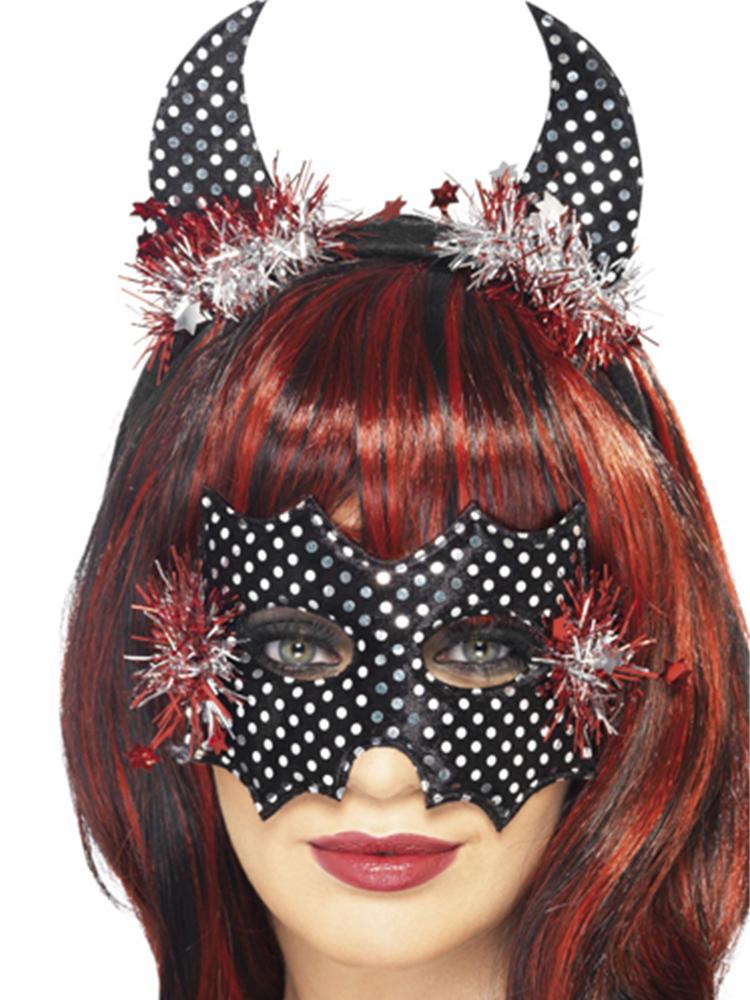 Devildina Mask and Horns Set,Black