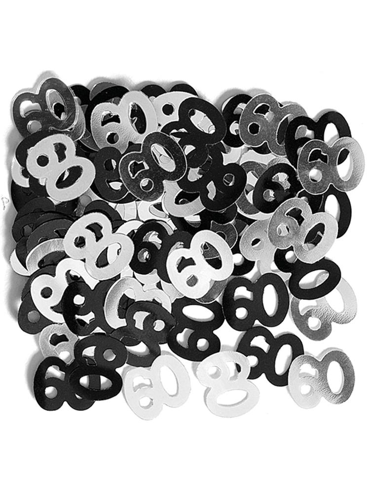 Birthday Glitz Black & Silver 60th Birthday confetti
