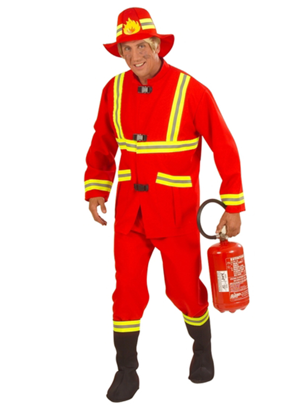 Fireman Costume F/Optic (Coat Pants Boot Covers Helmet)