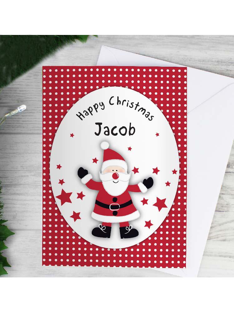 Personalised Spotty Santa Card