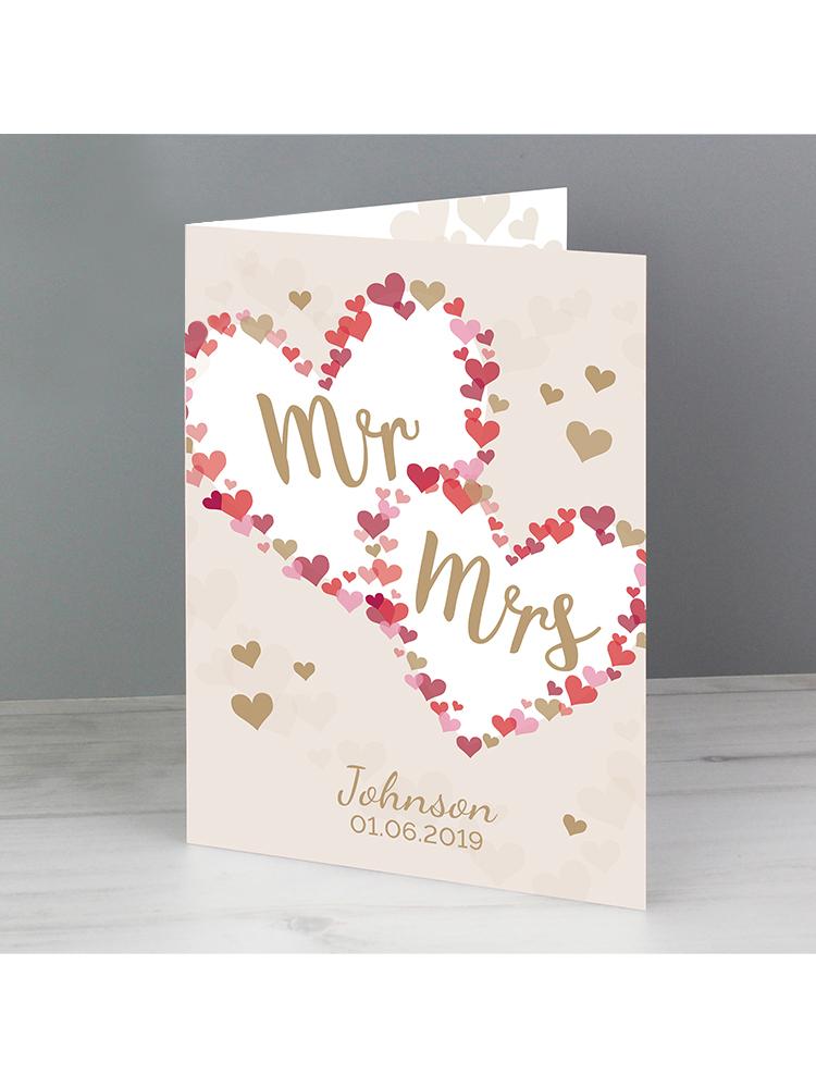 Personalised Mr & Mrs Confetti Hearts Wedding Card