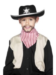 Sheriff's Hat Black Felt With white Trim And Badge (1)
