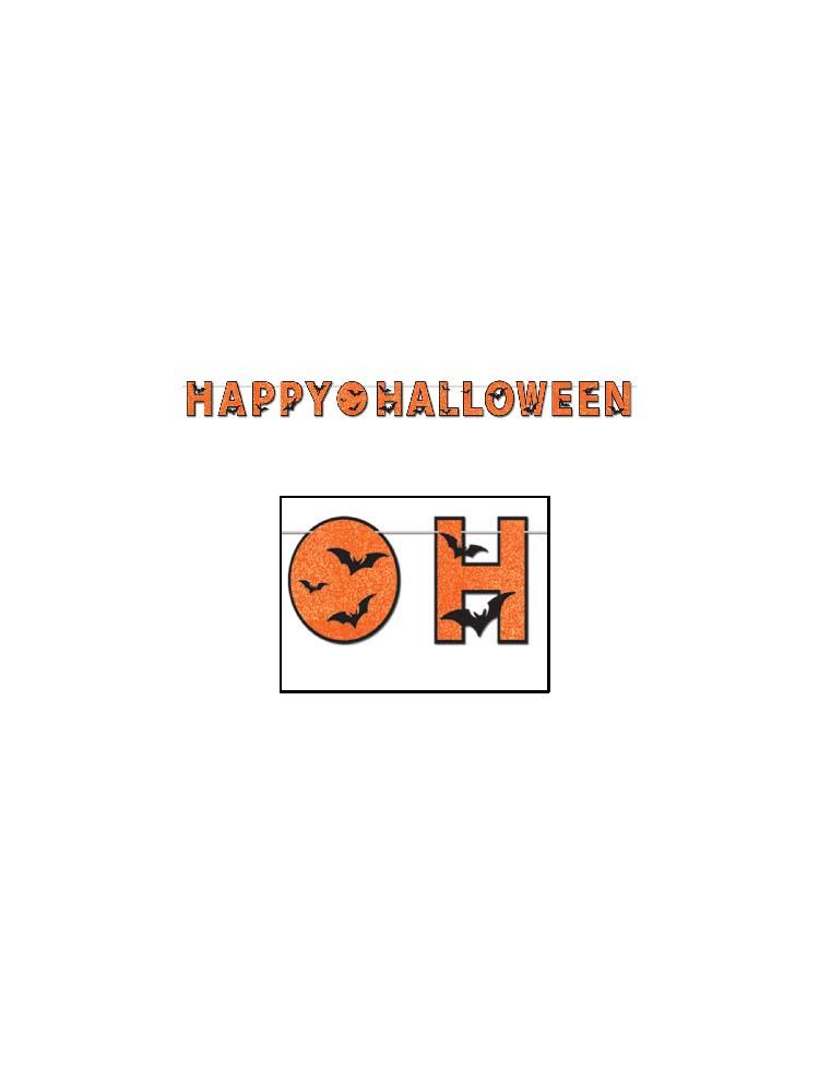 Glittered Happy Halloween Banner