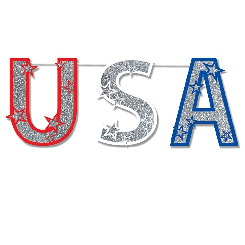 """Glittered USA Streamer 15"""" x 4' 6"""""""