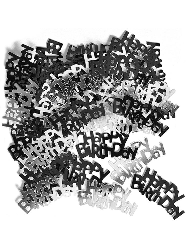 Birthday Glitz Black & Silver Happy Birthday Confetti