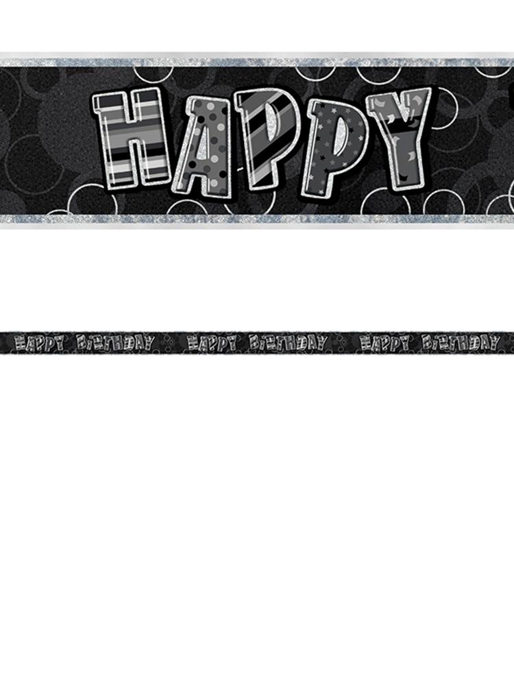 Birthday Glitz Black & Silver Happy Birthday Prism Banner