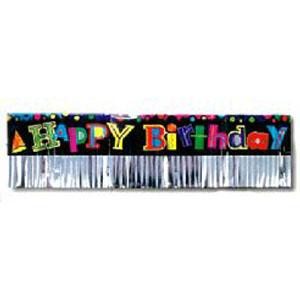 Happy Birthday Banner Foil Fringed 6ft
