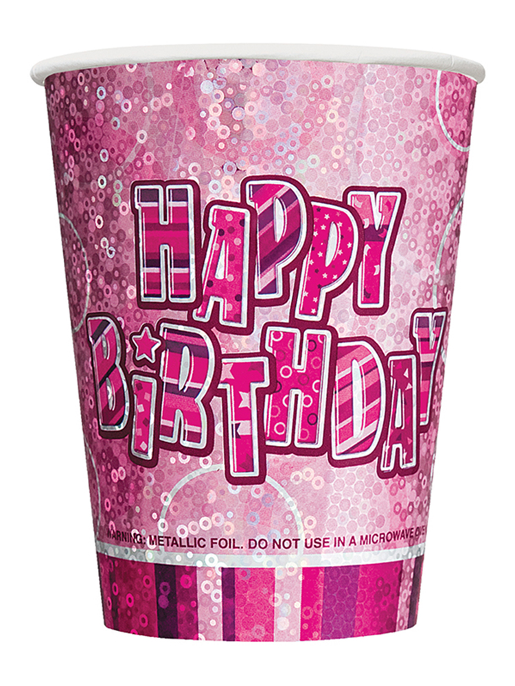 Birthday Glitz Pink - Happy Birthday Pink Prism Cups
