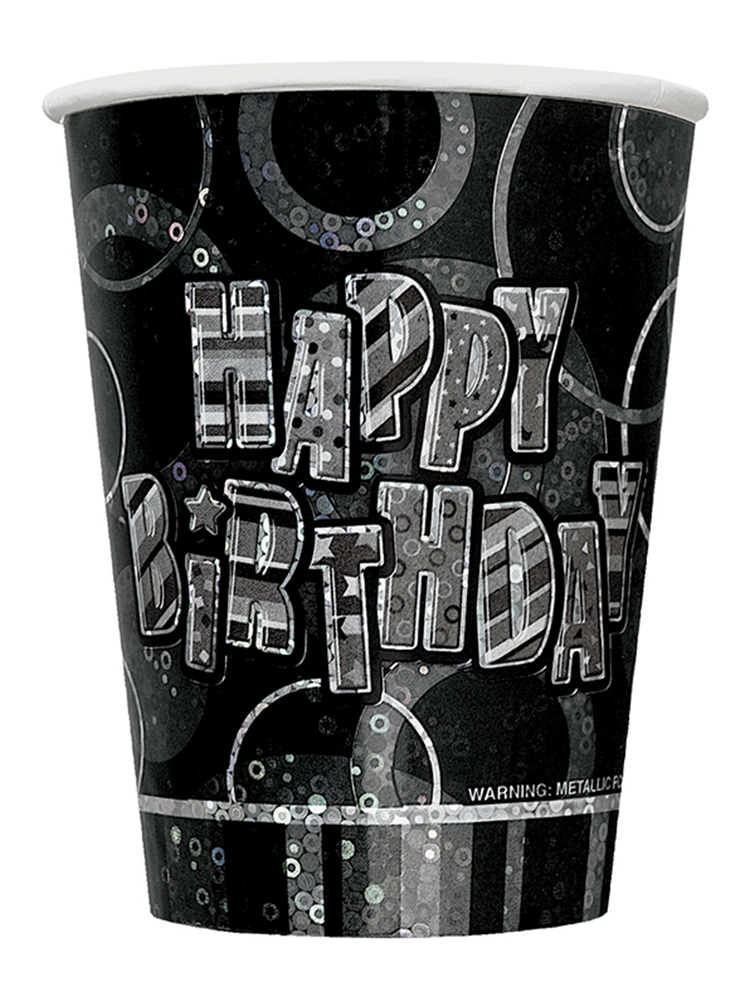 Birthday Glitz Black & Silver Happy Birthday Black Prism Cups