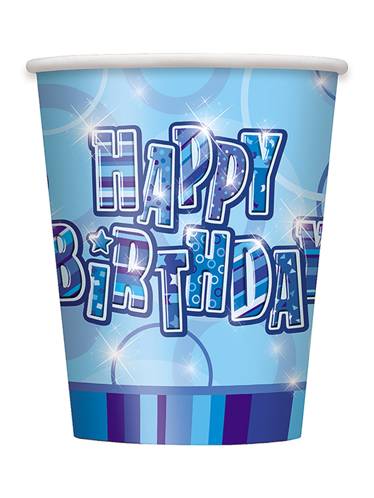 Birthday Glitz Blue - Happy Birthday Blue Prism Cups