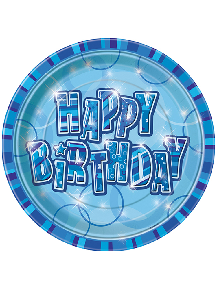 "Birthday Glitz Blue - Happy Birthday Blue Prism 9"" Plates"