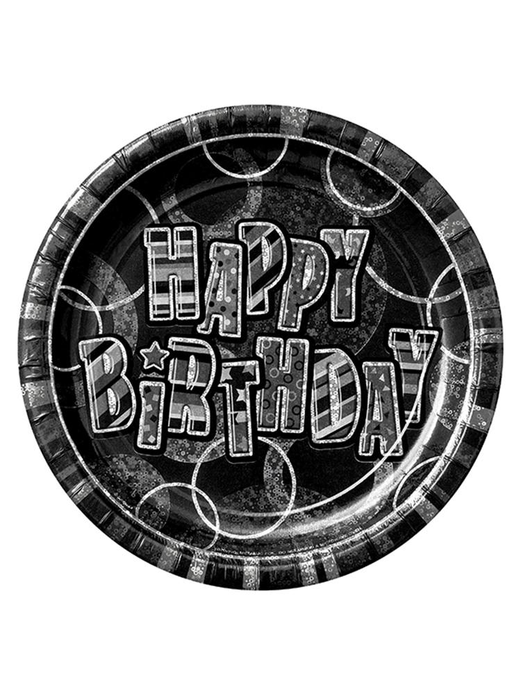 """Birthday Glitz Black & Silver Happy Birthday Black Prism 9"""" Plates"""