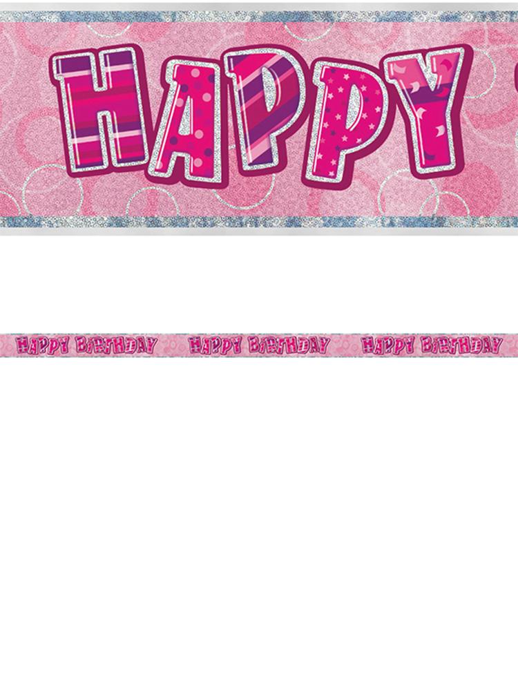 Birthday Glitz PinkHappy Birthday Prism Banner