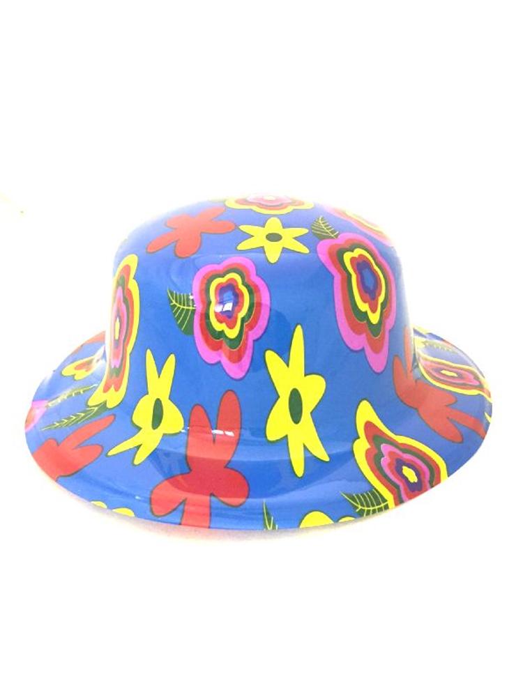 Blue Flower Bowler Hat