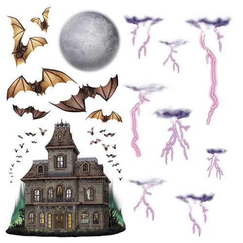 """Haunted House & Night Sky Props 7""""-40"""""""