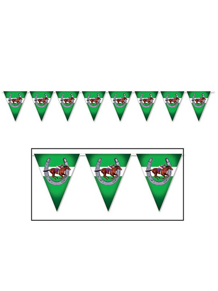"Horse Racing Pennant Banner 11"" x 12'"