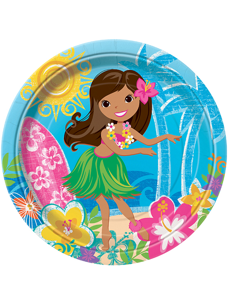 Hula Beach Party Plates 9""