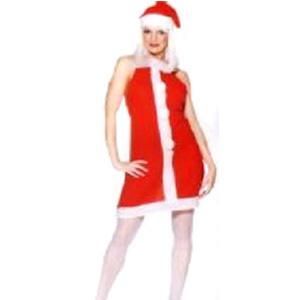 Ladies Miss Santa Fleece Apron With Pom Poms & Hat - Medium