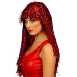 """Long Red Crinkle Wig 23"""""""