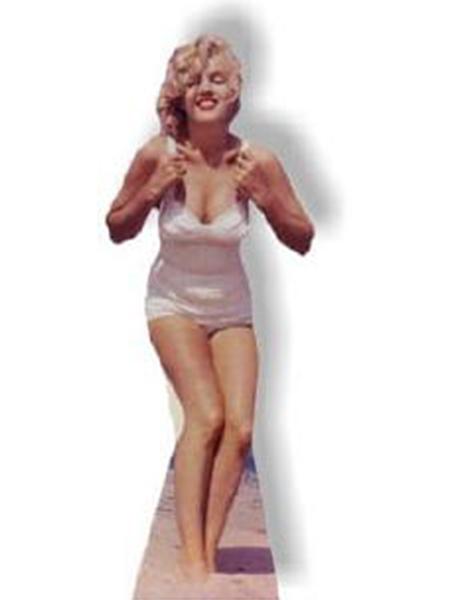 Marilyn Monroe In White Swim Suit Cardboard Cutout