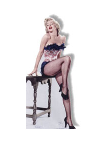 Marilyn Monroe Wearing net stockings sitting on table Cardboard Cutout