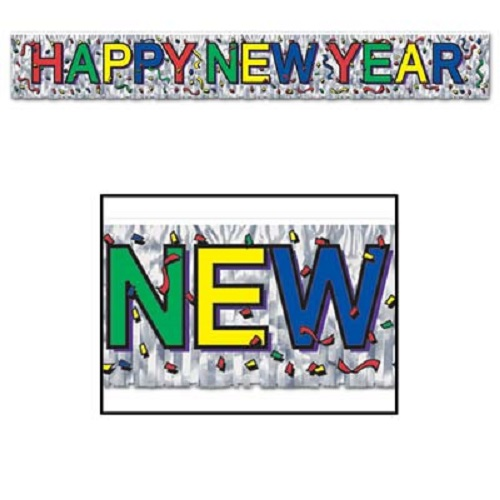 "Metallic Happy New Year Fringe Banner 8"" x 5'"