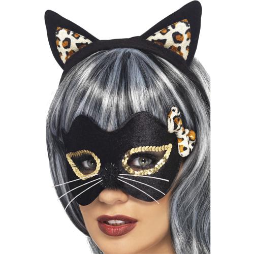 Midnight Kitty Eye Mask and Ear Set,Black