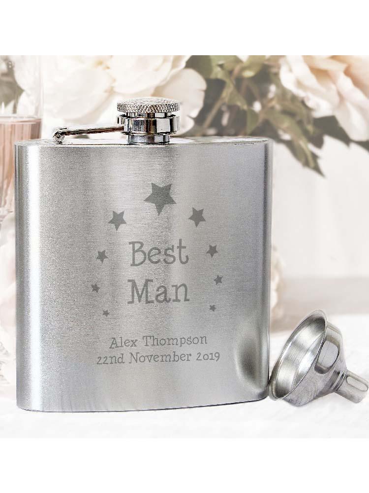 Personalised Stars Best Man Hip Flask