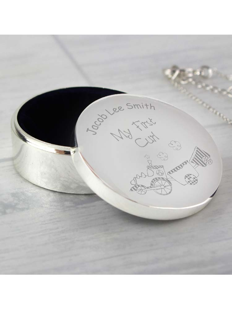 Personalised Train My First Curl Trinket Box