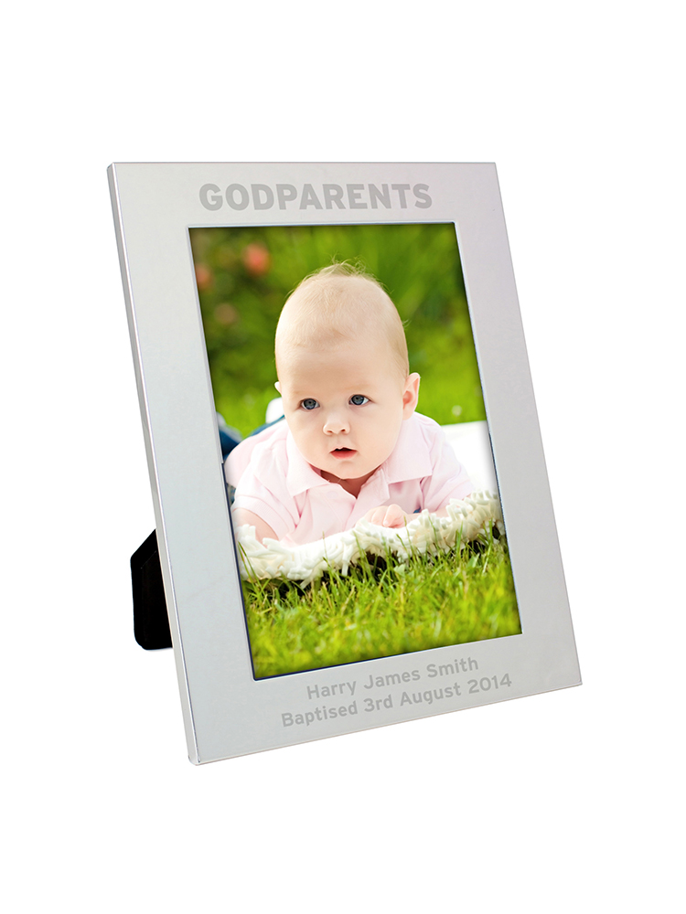 Personalised Silver 5x7 Godparents Photo Frame
