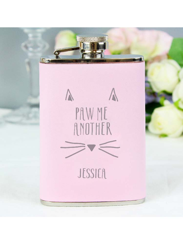 Personalised Paw Me Another Pink Hip Flask