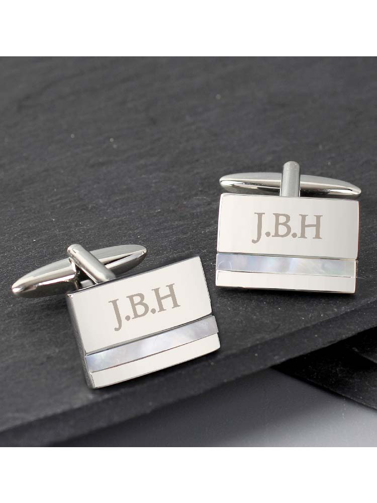 Personalised Mother of Pearl Cufflinks