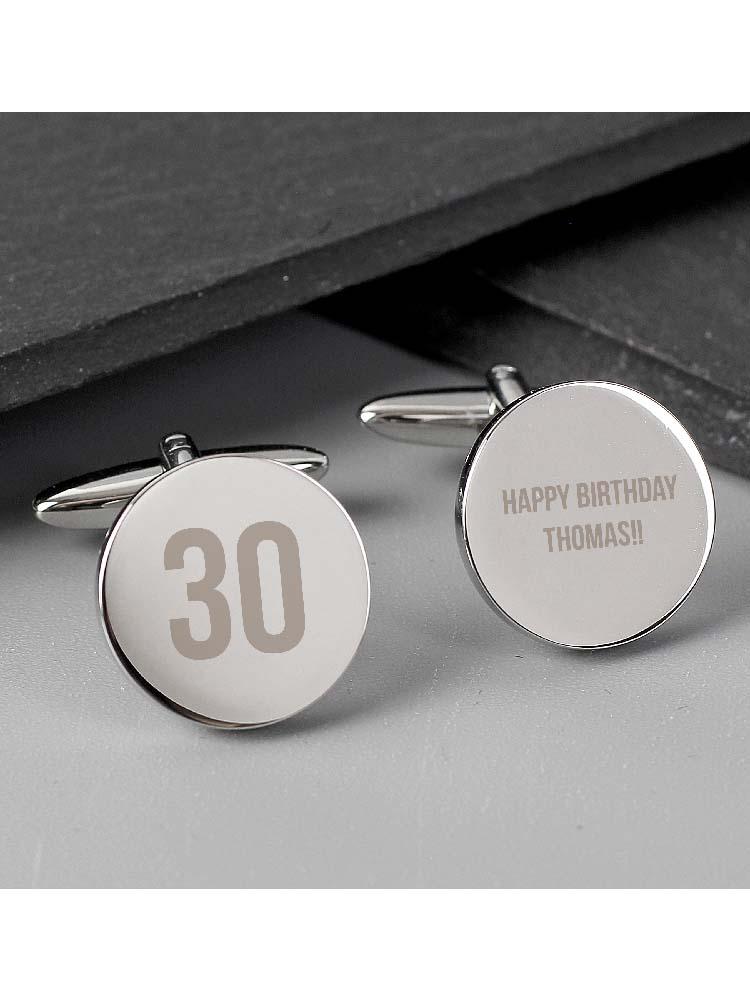 Personalised Birthday Big Age Round Cufflinks