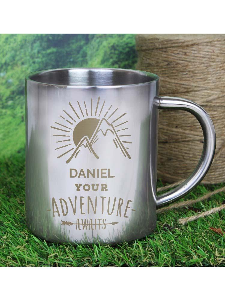 Personalised 'Adventure Awaits' Stainless Steel Mug