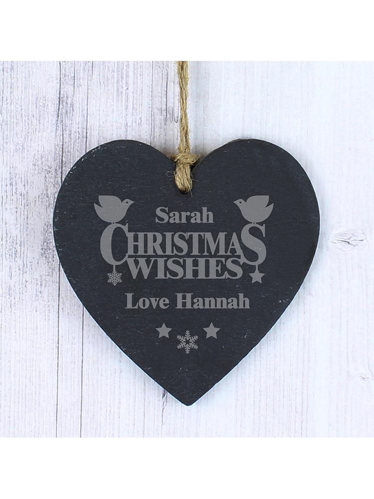 Personalised Christmas Wishes Slate Heart Decoration