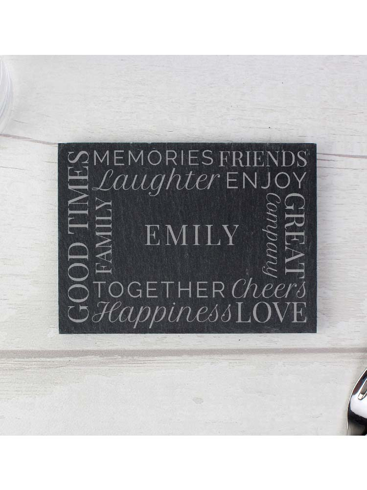 Personalised 'Together' Single Slate Coaster