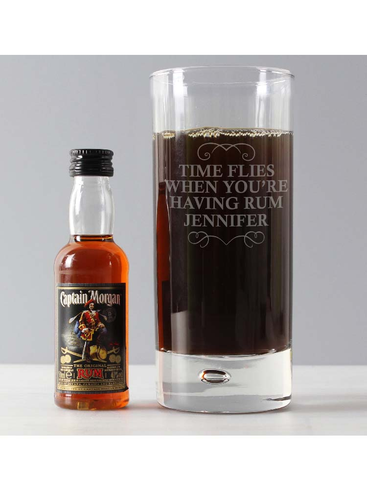 Personalised Any Message Hi Ball & Rum Miniature Set