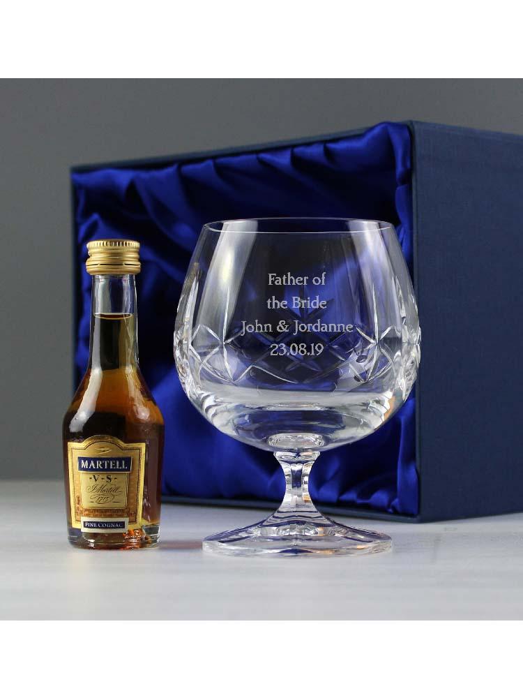 Personalised Cut Crystal & Brandy Gift Set