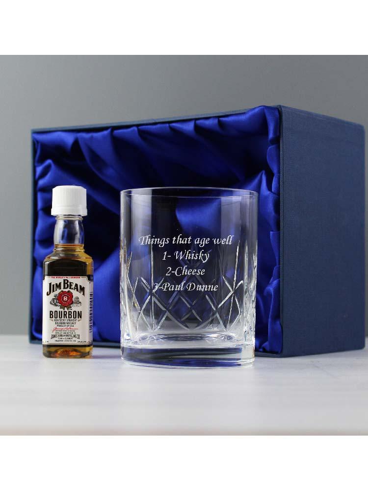 Personalised Cut Crystal Glass & Bourbon Whiskey Miniature Set