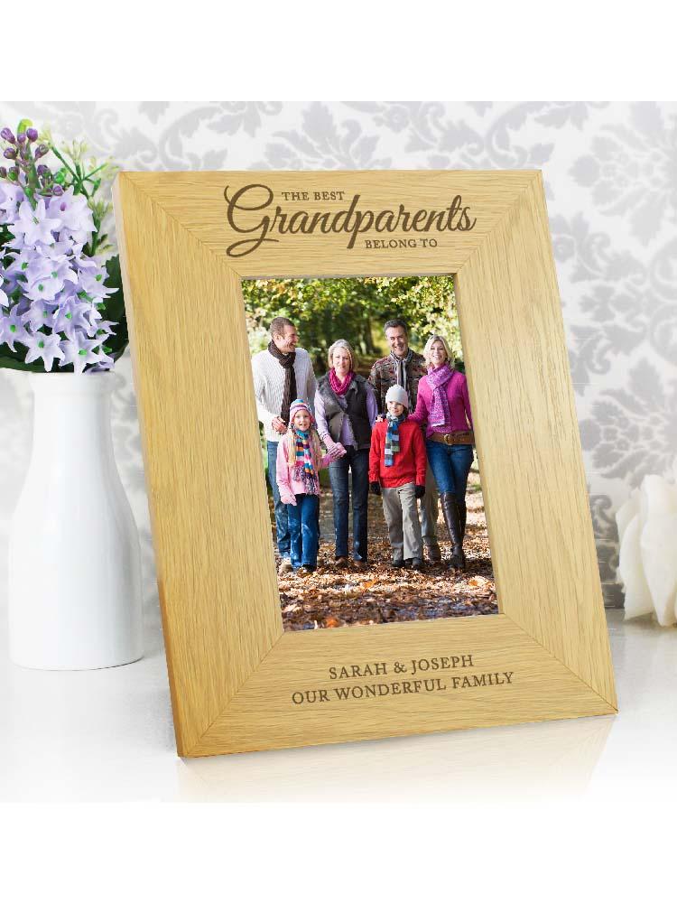 "Personalised """"The Best Grandparents"""" 6x4 Oak Finish Photo Frame"