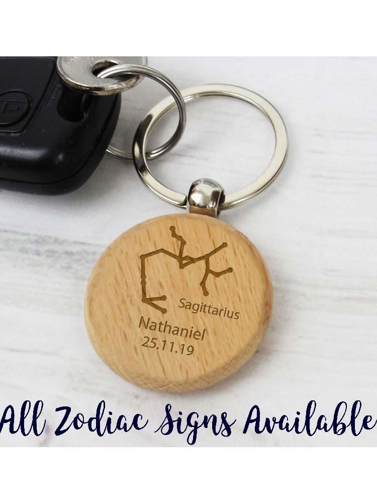 Personalised Sagittarius Zodiac Star Sign Wooden Keyring (November 22nd - December 21st)