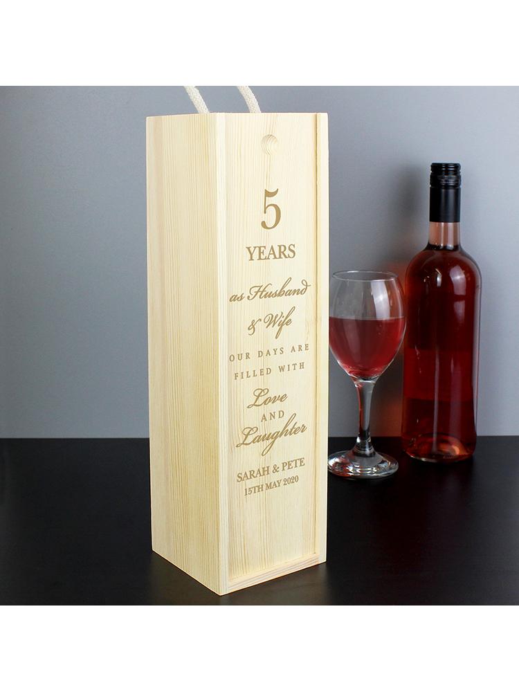 Personalised Anniversary Wooden Wine Bottle Box
